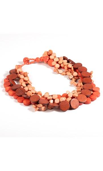 Short Layered Circles Timber Necklace