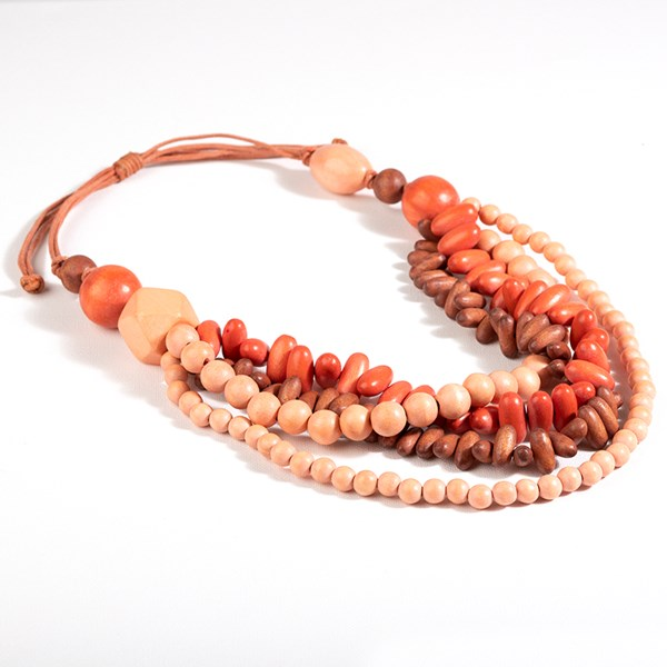 Cord Back Layered Front Timber Necklace