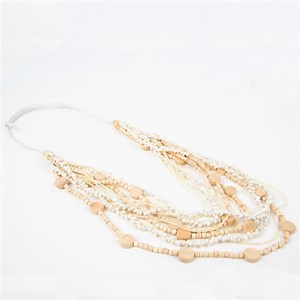 Tiny Shell & Timber Long Layers Necklace