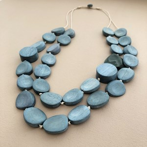 Duo Timber Resin Pods Cord Back Necklace