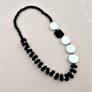 Contrast Bead Panels Timber Necklace