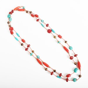 Long Knotted Bead Mix Necklace