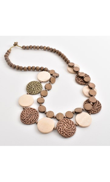 Weave Timber Circles Two Strand Necklace