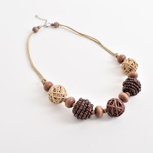 Crafty Woven Balls Cord Back Necklace