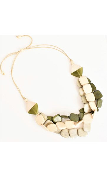 Three Strand Timber Cord Back Necklace