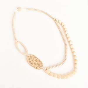 Rattan Side Detail Timber Necklace