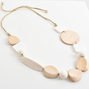 Multi Shapes Timber Cord Back Necklace