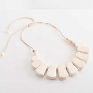 Curved Timber Bead Front Cord Necklace