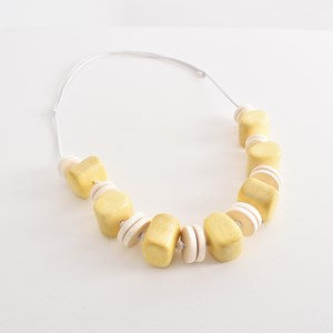 Timber Bead Front Cord Back Necklace