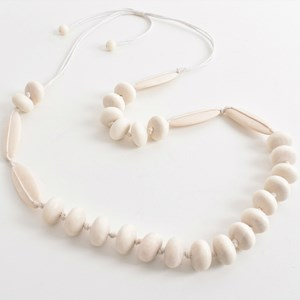 Knotted Timber Bead Panel Necklace