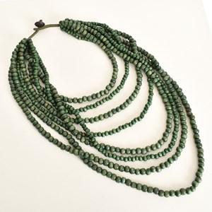 Many Strand Timber Bead Necklace