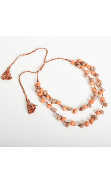 2 Strand Resin Shape on Cord Adjustable Necklace