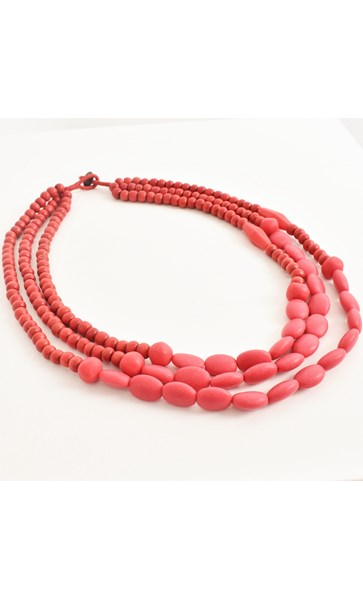 3 Strand Resin and Timber Bead Necklace