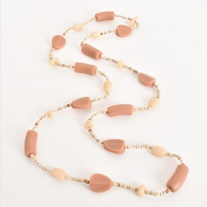 Long Strand Resin Shapes Small Bead Necklace