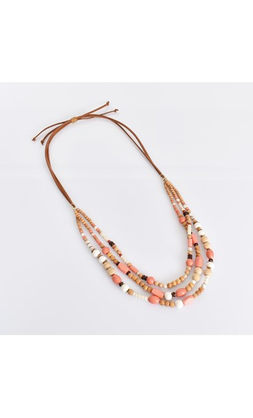 Bead Timber Mix Suede Back Necklace