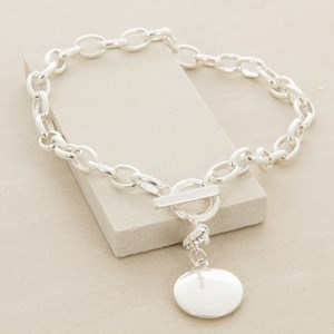 Metal Disk Fob Oval Chain Short Necklace