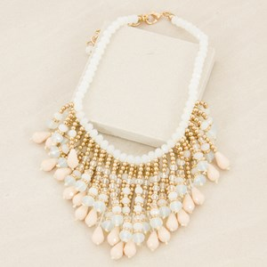 Crystal & Metal Ball Fringed Statement Necklace