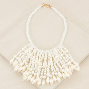 Pearl & Crystal Fringed Statement Necklace