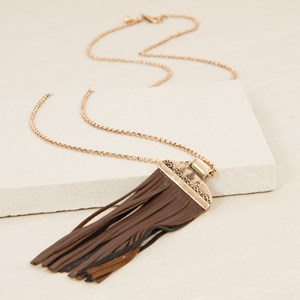 Capped Flat Leather Tassel Long Necklace