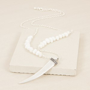 Metal Horn Stone Panels Long Chain Necklace