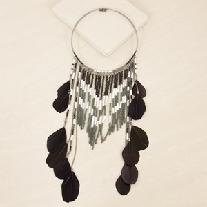 Seed Bead & Feather Fringe Collar Necklace