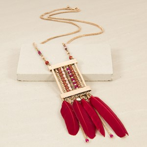 Beaded Pendant & Feathers Long Necklace
