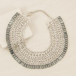 Baguette Jewel Edge Multi Chain Collar Necklace