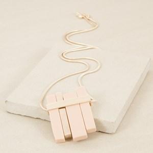 Resin & Metal Bars Pendant Long Necklace