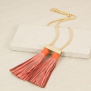Double Tassel Metal Bar Necklace