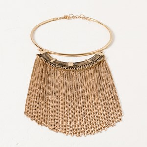 Metal Chain Fringe Collar Necklace