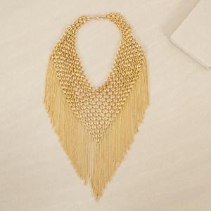 Mesh V Chain Fringe Statement Necklace