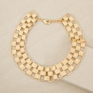 Textured Flat Links Collar Necklace