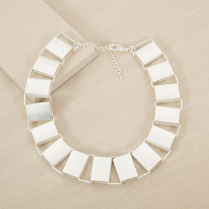 Rectangle Smooth Links Collar Necklace