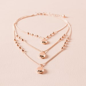 Three Layer Metal Teardrops Fine Necklace