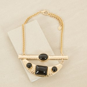 Resin Shapes Beaten Metal Plate Necklace