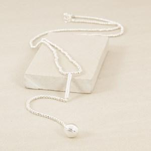 Mini Metal Balls Y Drop Long Necklace