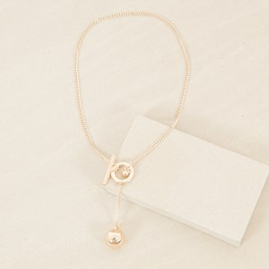 Metal Chain & Ball Drop Toggle Short Necklace