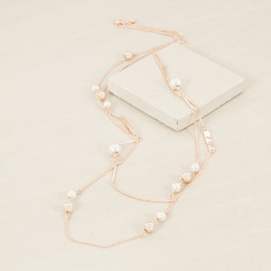 Two Layer Pearl & Ball & Chain Mix Long Necklace