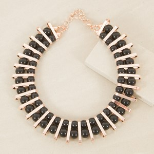Resin Balls & Curved Metal Panels Collar Necklace