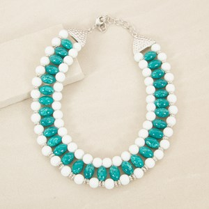 Curved Glass Beads Collar Necklace