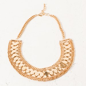 Metal Hexagon Curved Collar Necklace