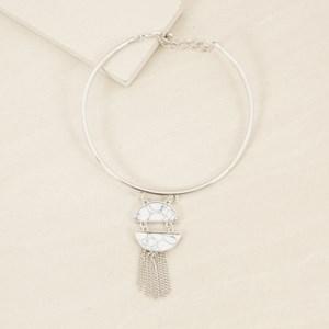 Stone Chain Fringe Pendant Tube Collar Necklace