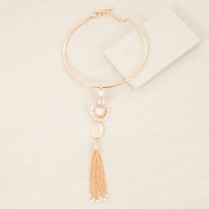 Pearl & Stone Chain Tassel Drop Tube Collar Necklace