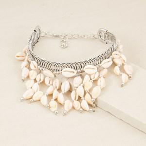 Cowry Shell Fringe Metal Choker Necklace