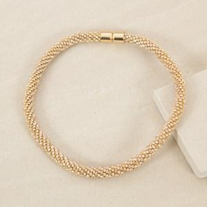 Diamante Cord Short Magnet Clasp Necklace