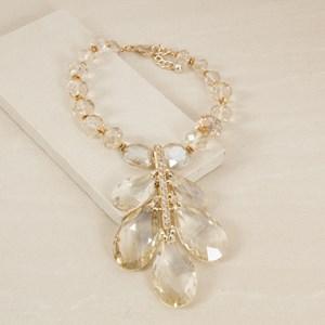 Facet Jewel Teardrop Vine Drop Crystal Necklace