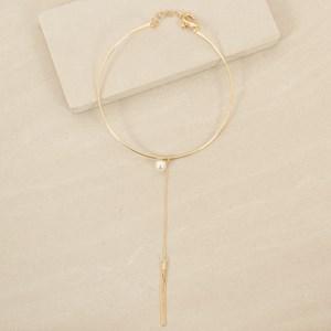 Fine Chain Tassel w Pearl Drop Choker
