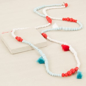 135cm Patterned Graduated Wood Bead Necklace