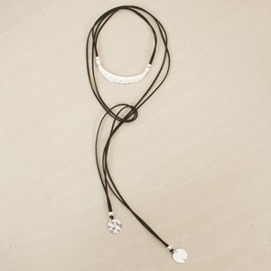 156cm Curved Bar Lariat with Discs Necklace