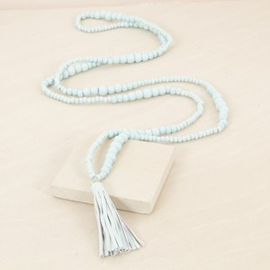 158cm Wood Bead Graduated with Leather Tassel Necklace